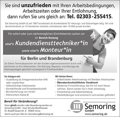 Stellenanzeige Kundendiensttechniker Berlin und Brandenburg