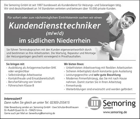 Stellenanzeige Kundendiensttechniker südlicher Niederrhein